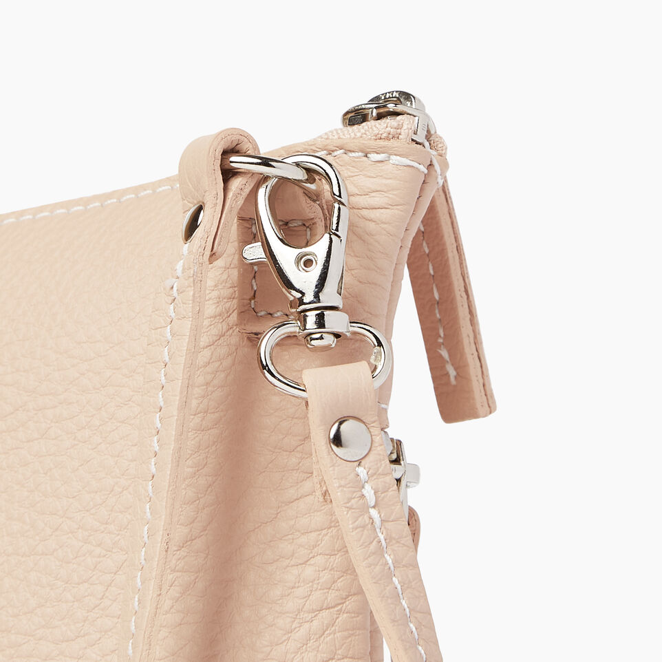 Roots-Leather Our Favourite New Arrivals-Double Zip Wristlet-Pink Mist-E