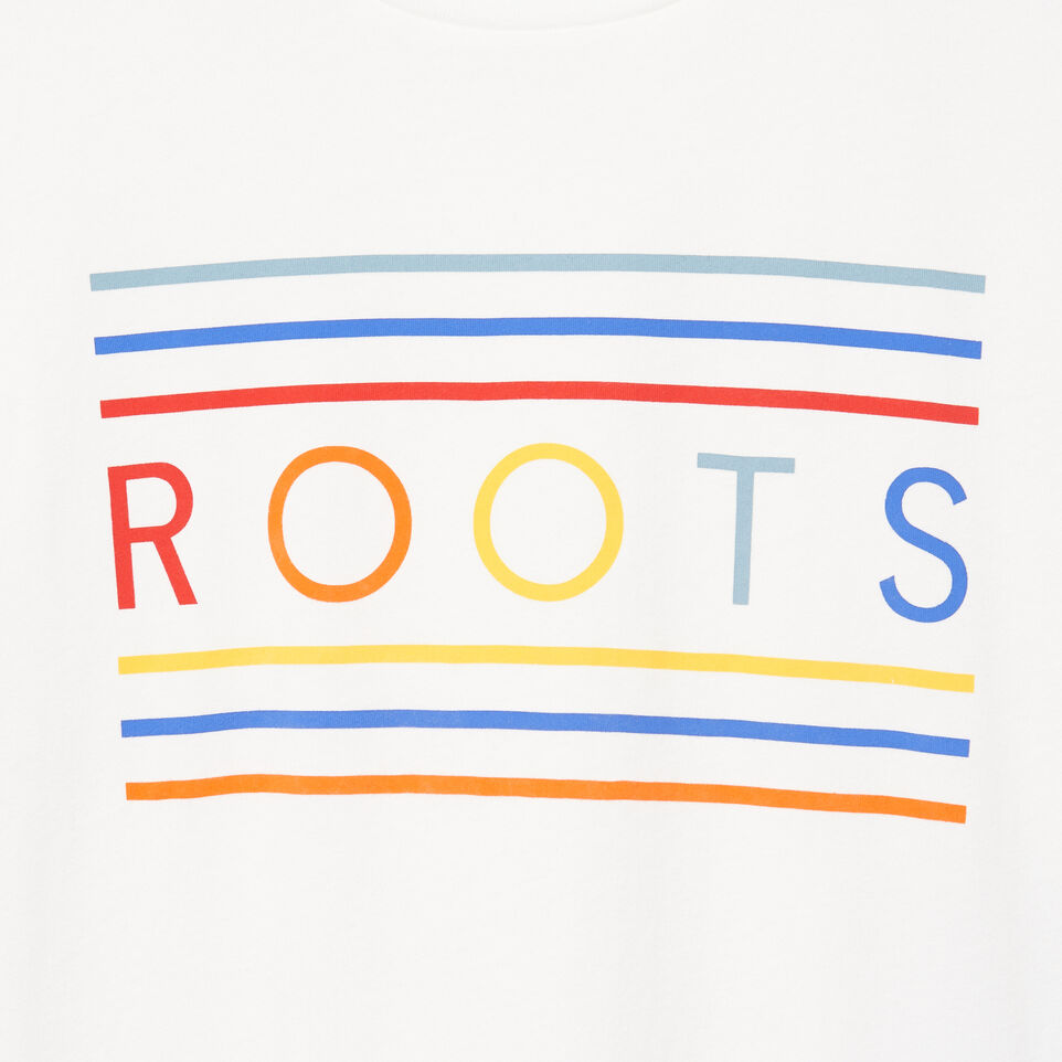 Roots-Men Our Favourite New Arrivals-Mens Rainbow T-shirt-Ivory-D