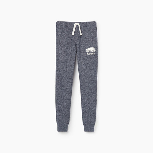 Roots-Kids Bottoms-Girls Slim Cuff Sweatpant-Navy Blazer Pepper-A