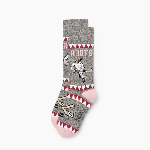 Roots-Kids Accessories-Kids Canadiana Boot Sock-Pink-A