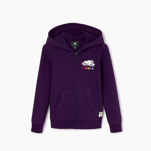 Roots-New For November Kids-Girls Original Full Zip Hoody-Blackberry-A