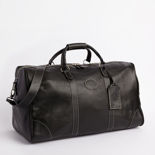 Roots-Leather  Handcrafted By Us Weekender Bags-Large Banff Bag-Black-A