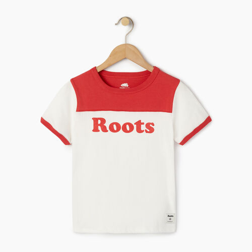 Roots-Clearance Kids-Girls Roots Team T-shirt-Chrysanthemum-A