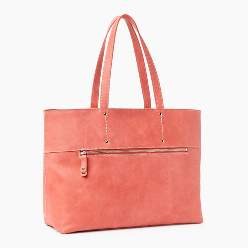 Roots-Leather Handbags-Westmount Tote Tribe-Coral-A