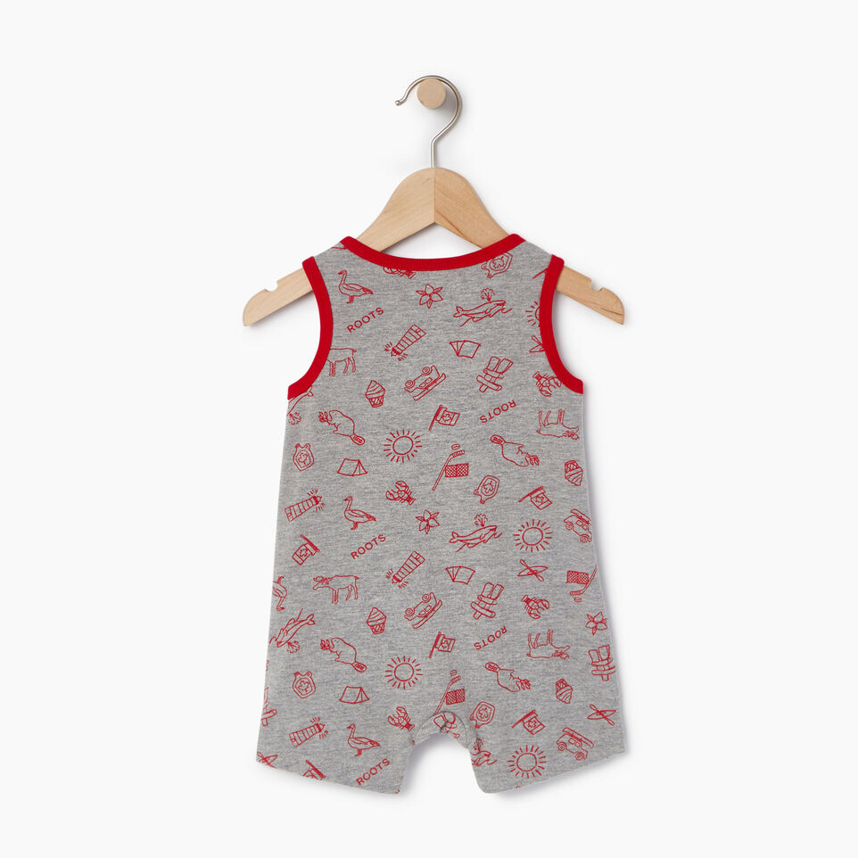 Roots-Kids Canada Collection-Baby Canada Aop Romper-Grey Mix Pepper-B