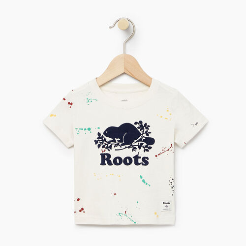Roots-Clearance Baby-Baby Splatter Aop T-shirt-Cannoli Cream-A