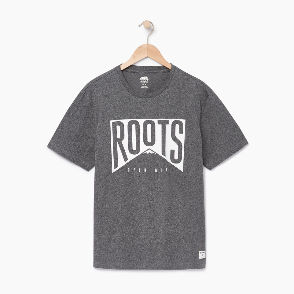 Roots-Men Our Favourite New Arrivals-Mens Roots Peak T-shirt-Charcoal Pepper-A
