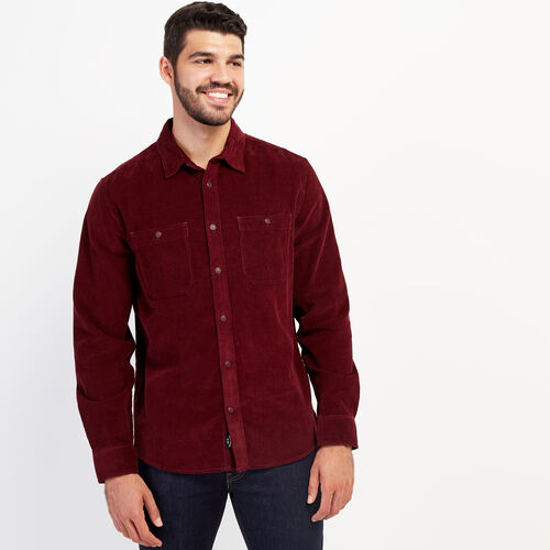 Roots-New For September Work From Home-Cord Work Shirt-Mulberry-A