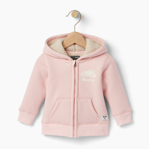Roots-Clearance Baby-Baby Sherpa Fleece Full Zip Hoody-Light Pink-A