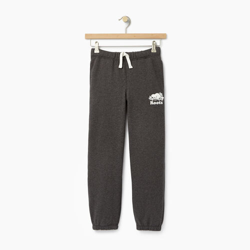 Roots-Kids Sweats-Boys Original Sweatpant-Charcoal Mix-A