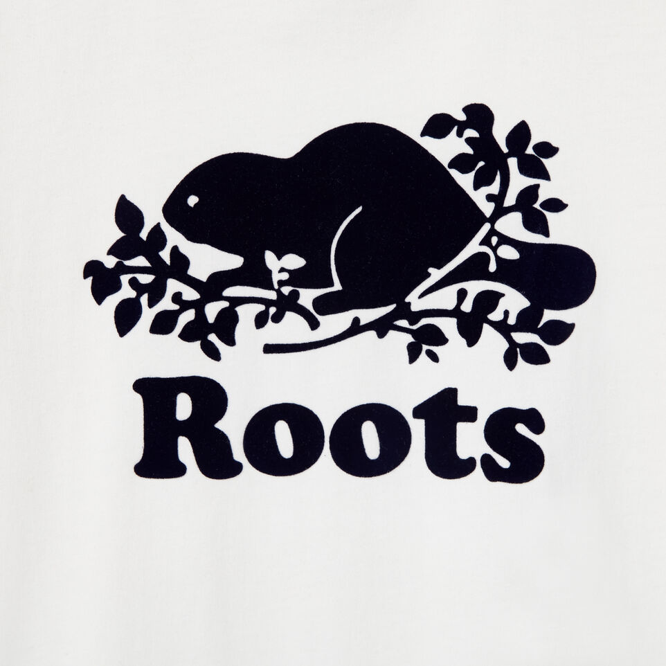 Roots-New For August Kids-Boys Original Cooper Beaver T-shirt-Cloudy White-D
