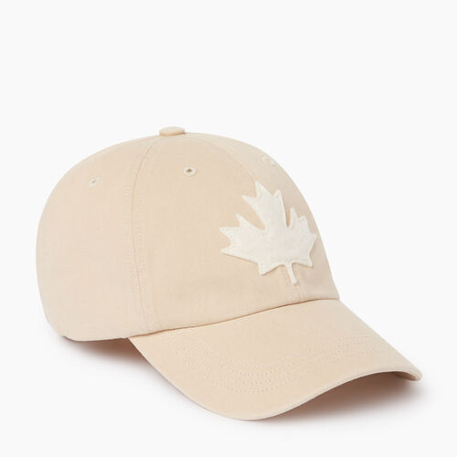 Roots-Men Accessories-Canada Leaf Baseball Cap-True Khaki-A