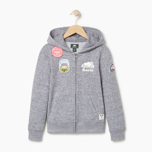Roots-Kids Our Favourite New Arrivals-Girls Patches Full Zip Hoody-Salt & Pepper-A