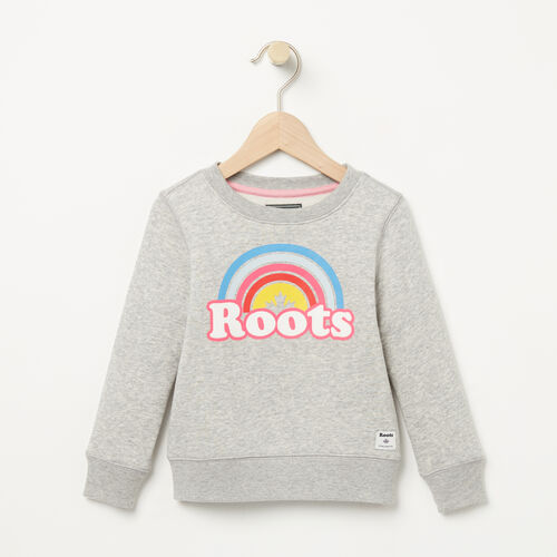 Roots-Kids Tops-Toddler Cooper Rainbow Crew-Grey Mix-A