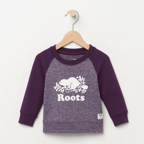 Roots-Clearance Kids-Baby Original Crewneck Sweatshirt-Purple Pennant Peppr-A