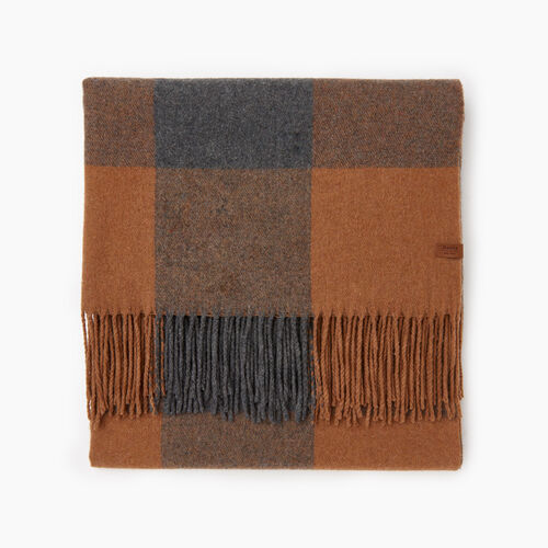 Roots-Women Categories-Roots Park Plaid Blanket Scarf-Camel-A