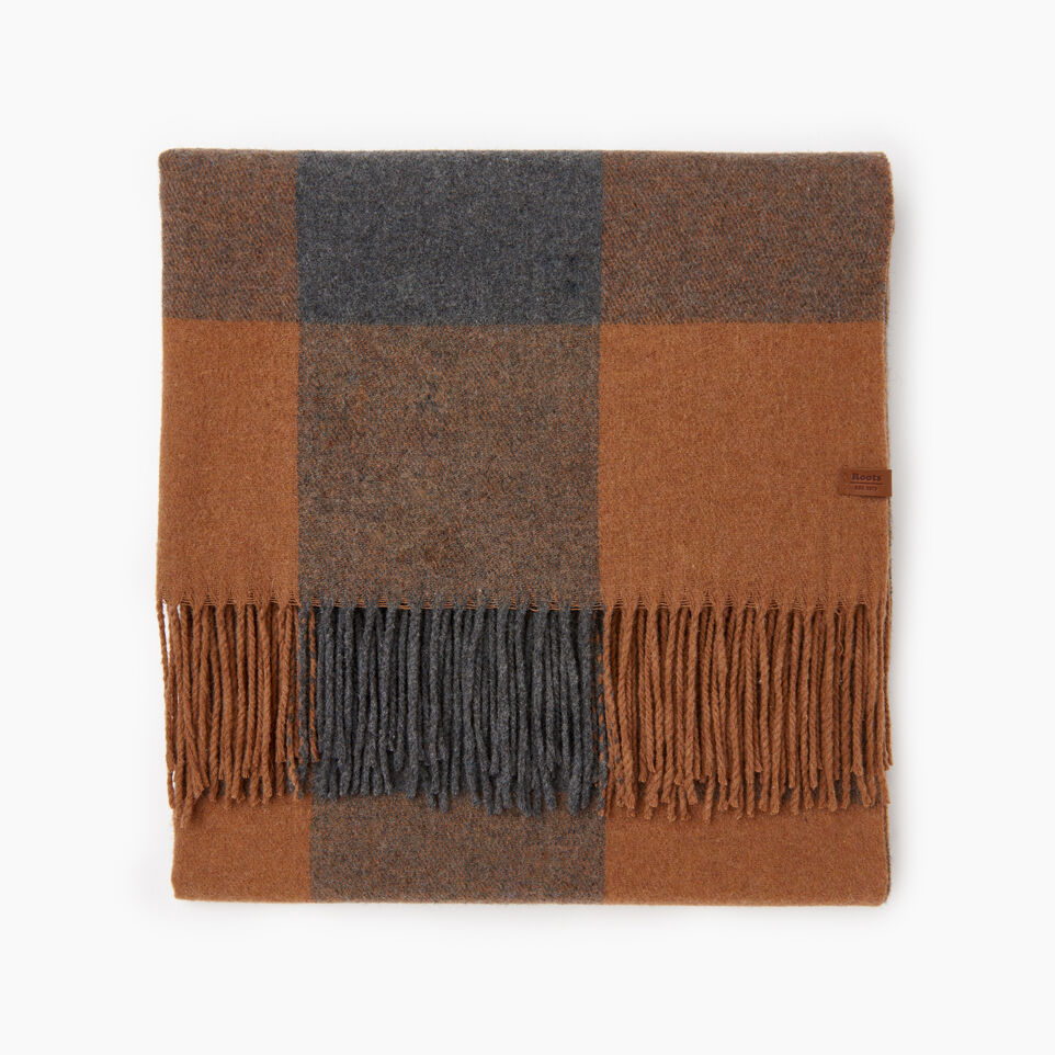 Roots-Women Scarves & Wraps-Roots Park Plaid Blanket Scarf-Camel-A
