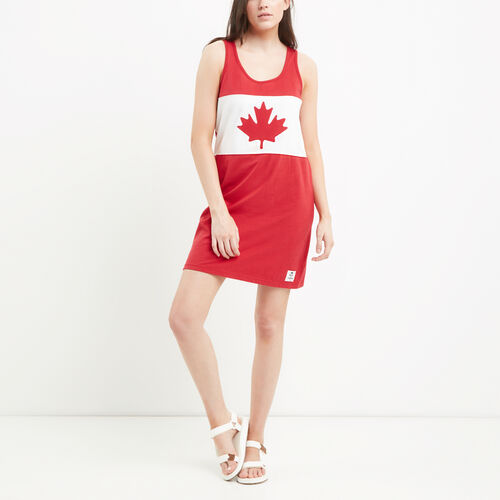 Roots-New For July Canada Collection By Roots™-Womens Blazon Jersey Dress-Sage Red-A