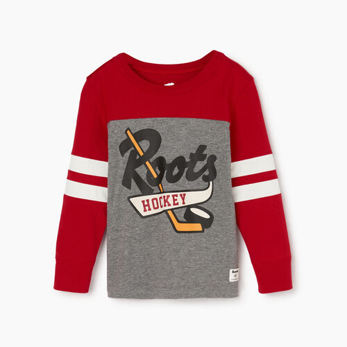 Roots-Kids Tops-Toddler Hockey Team T-shirt-Sage Red-A