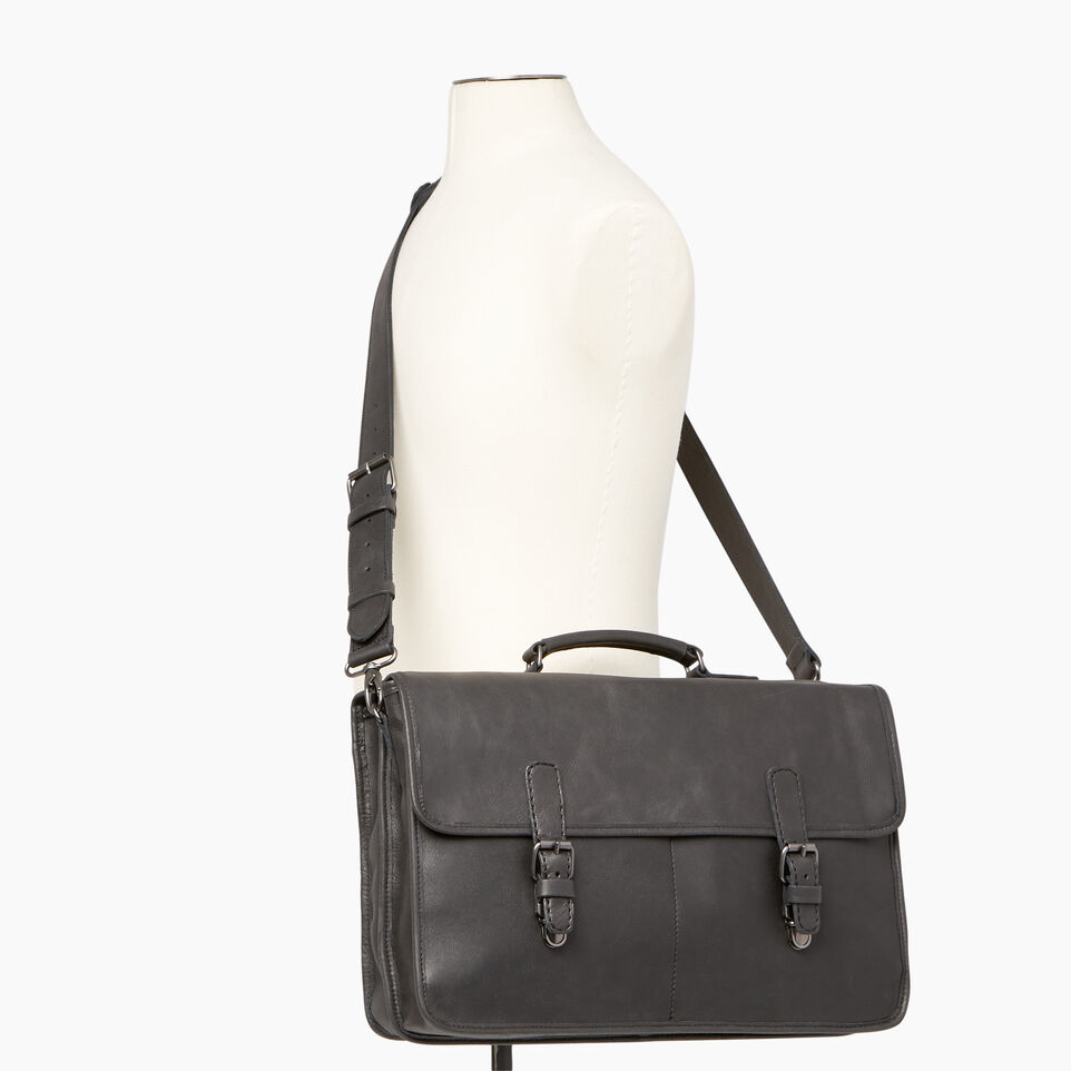 Roots-Leather  Handcrafted By Us Our Favourite New Arrivals-The Original Briefcase-Jet Black-B