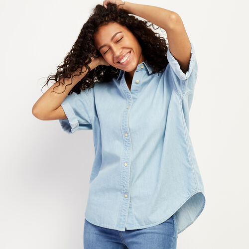 Roots-Women Clothing-Clermont Chambray Shirt-Chambray Blue-A