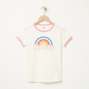 Roots-Kids New Arrivals-Girls Cooper Rainbow Ringer T-shirt-Pristine White-A