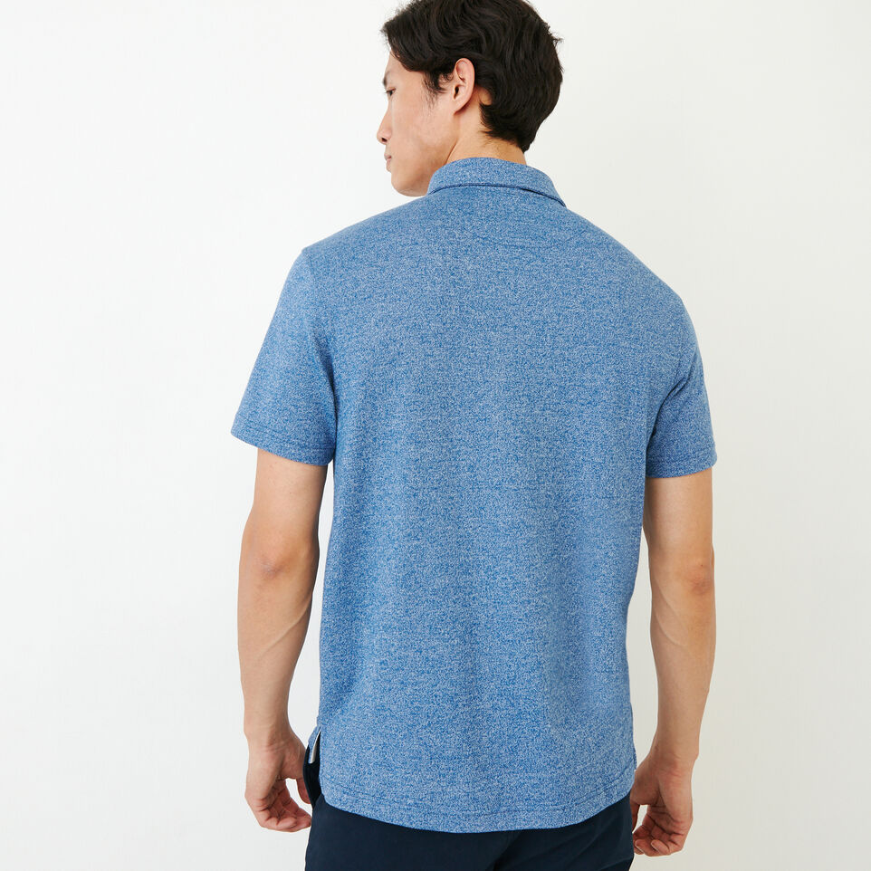 Roots-Men Our Favourite New Arrivals-Jersey Peppered Polo-Active Blue Pepper-D