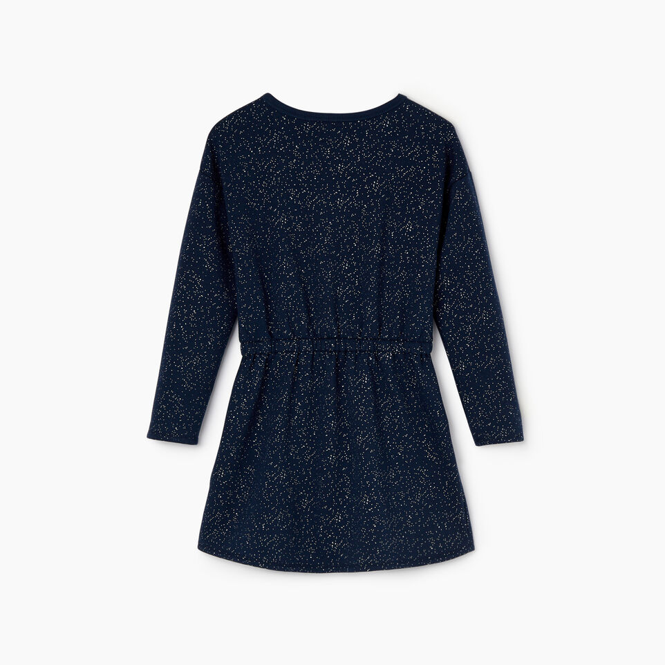 Roots-Kids Dresses-Girls Sparkle Cozy Fleece Dress-Navy Blazer-B