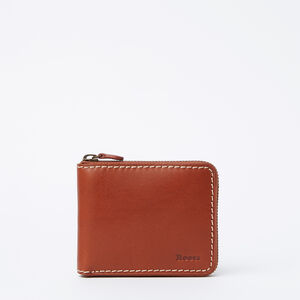 Roots-Leather Vegetable Tanned Leather-Mens Zip Around Wallet Veg-Oak-A