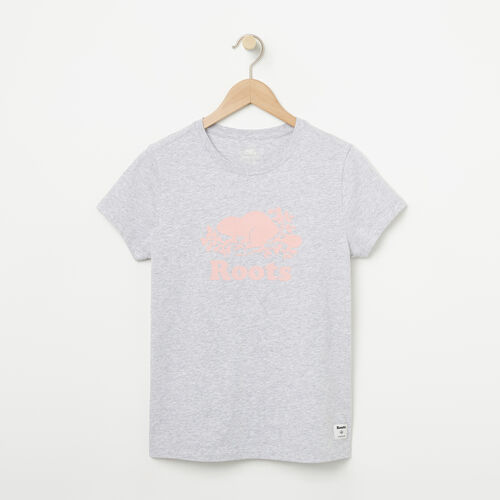 Roots-Kids T-shirts-Girls Cooper Beaver T-shirt-Snowy Ice Mix-A