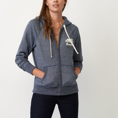 Roots-Women Sweats-Cooper Beaver Full Zip Hoody-Navy Blazer Pepper-A