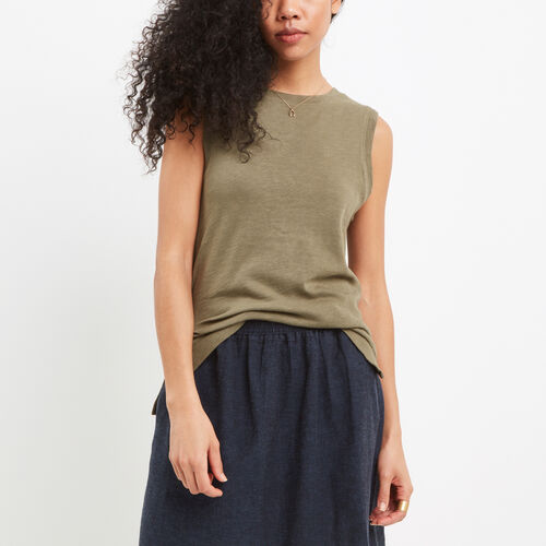 Roots-Women New Arrivals-Ruby Muscle Tank-Dusty Olive-A