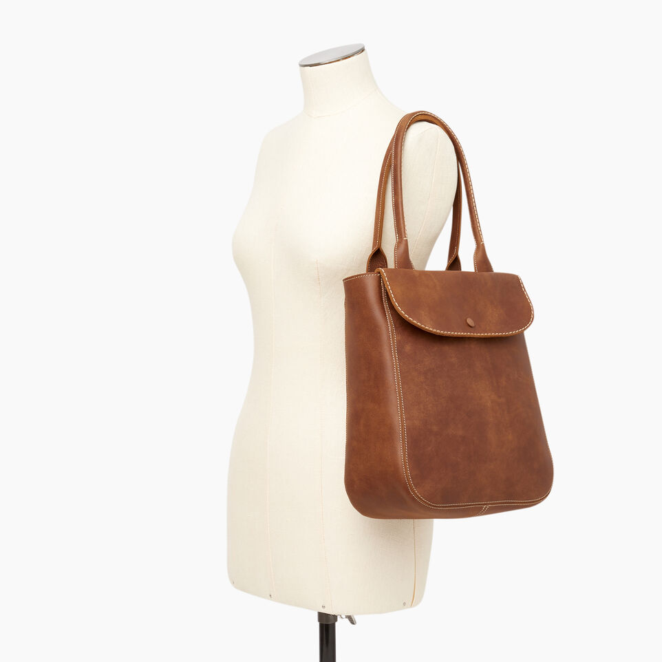 Roots-Leather Our Favourite New Arrivals-Tall Riverdale Tote-Natural-B