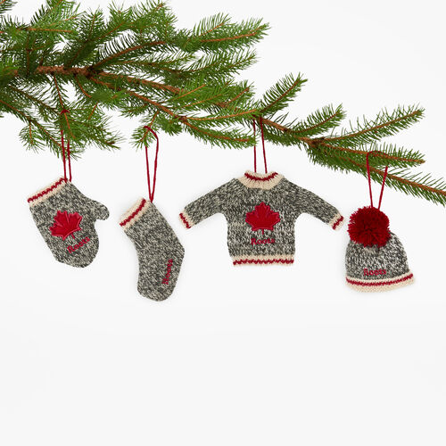 Roots-New For November General Store-Roots Cabin Ornaments 4 piece Set-Grey Oat Mix-A