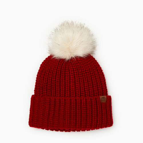 Roots-Gifts Accessory Sets-Olivia Fur Pom Pom Toque-Cabin Red-A