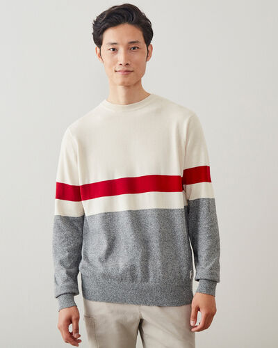Roots-Men Sweaters & Cardigans-Cotton Cabin Crew Sweater-Salt & Pepper-A