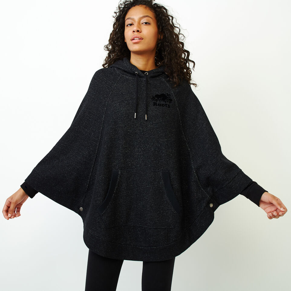 Roots-Women Categories-Fleece Poncho-Black Pepper-A