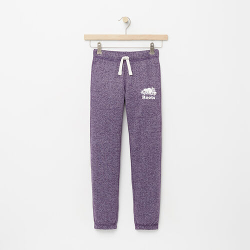 Roots-Kids Bottoms-Girls Original Roots Sweatpant-Purple Pennant Peppr-A