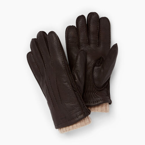 Roots-Men Leather Accessories-Mens Cuff Deerskin Glove-Dk Brown-A