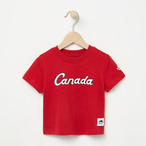 Roots-Sale Kids-Baby Heritage Script T-shirt-Sage Red-A