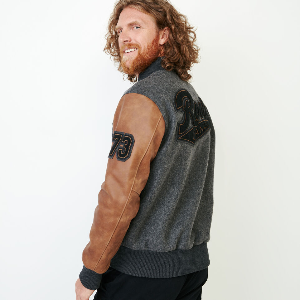 Roots-Leather  Handcrafted By Us Award Jackets-Roots Script Award Jacket-Charcoal-D