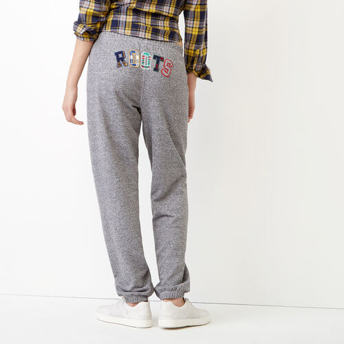 Roots-Women Bottoms-Roots Applique Sweatpant-Salt & Pepper-A