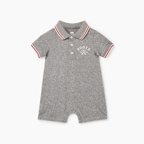 Roots-Kids Rompers & Onesies-Baby Cabin Polo Romper-Salt & Pepper-A