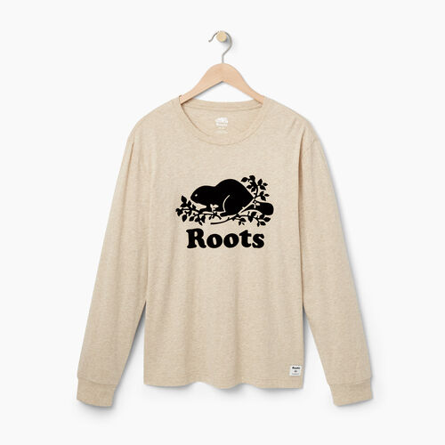 Roots-Winter Sale Tops-Mens Cooper Beaver Long Sleeve T-shirt-Flaxseed Mix-A