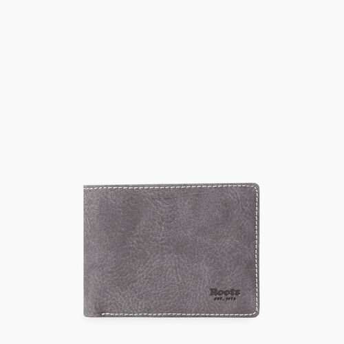 Roots-Men Wallets-Mens Slimfold Sideflap Tribe-Charcoal-A