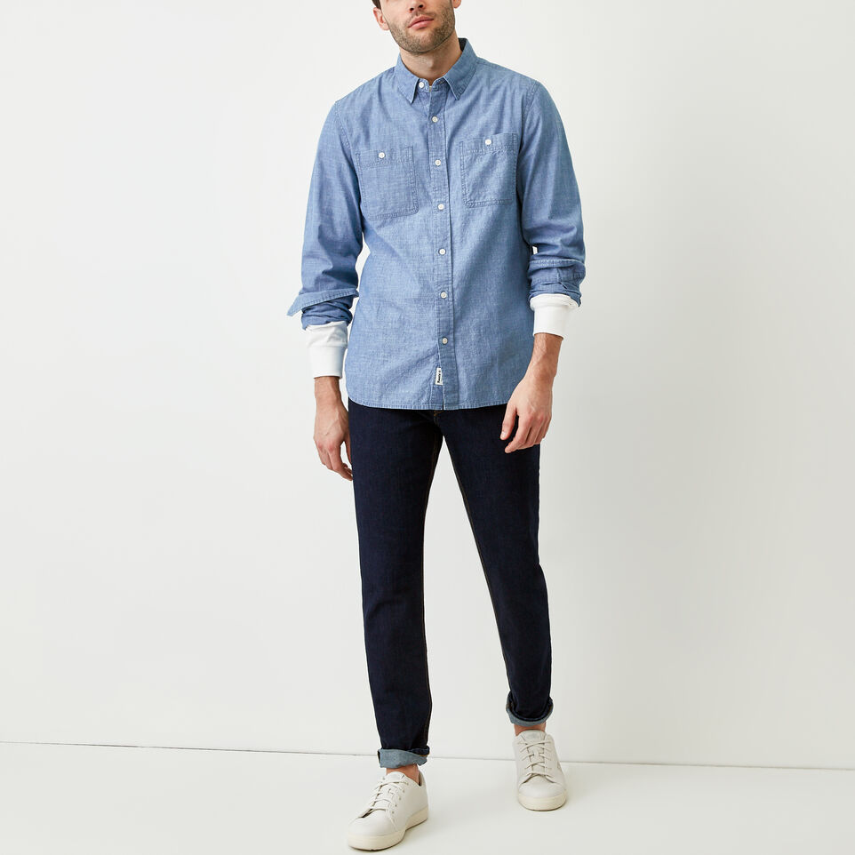 Roots-Men Our Favourite New Arrivals-Saltspring Work Shirt-Chambray Blue-B