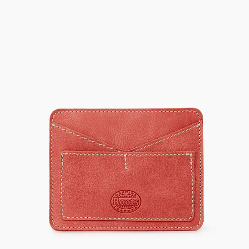 Roots-Leather Tech & Travel-Passport Card Holder Tribe-Coral-A