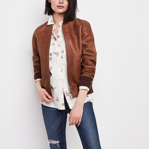 Roots-Women Leather Jackets-Womens Raglan Jacket Tribe-Natural-A