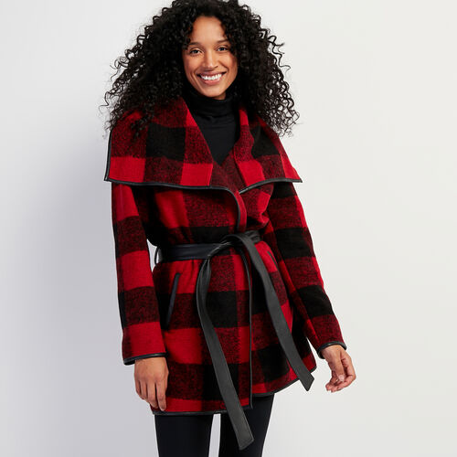 Roots-Women Leather Jackets-Julia Coat Park Plaid-Cabin Red-A