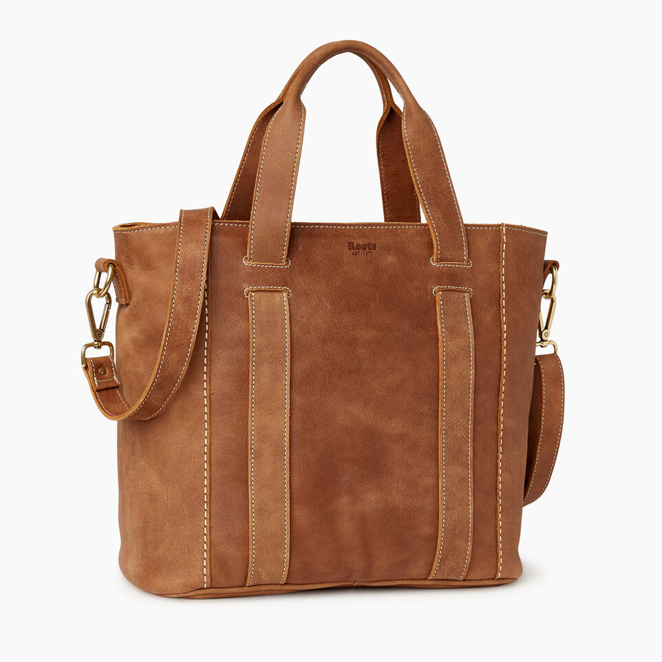 Roots-Leather  Handcrafted By Us Our Favourite New Arrivals-Victoria Tote-Natural-A